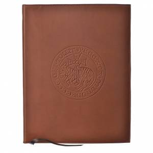 Folders sacred rites: Folder for sacred rites in brown leather, hot pressed lamb Bethleem, A4 size