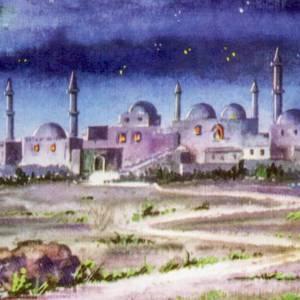 Fondos y pavimentos: Fondo tríptico  en madera, con paisaje árabe 20x42