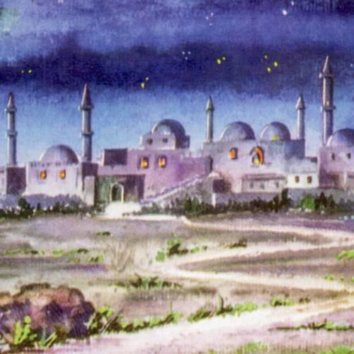 Fondo tríptico  en madera, con paisaje árabe 20x42 s2