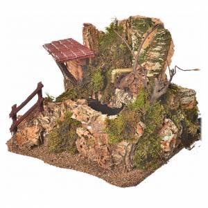 Fontaine en miniature roche et maison, décor crèche s2