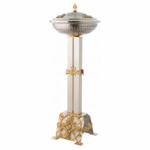 Fuentes bautismales: Fuente bautismal de bronce dorado y plateado