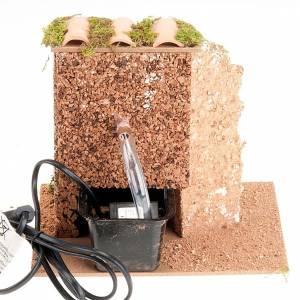 Fuente con techo de tejas para pesebre, eléctrico 2V s2