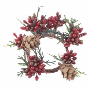 Christmas home decorations: Garland for Christmas candles, red with berries 4cm diameter