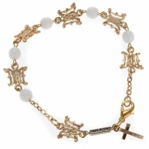 Ghirelli collection rosary beads: Ghirelli bracelet in Marian white glass