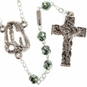 Ghirelli green rosary Lourdes Grotto, opaque glass 6mm s1
