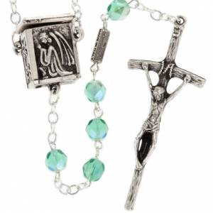 Ghirelli rosary, aqua green with locket medal 6mm s1