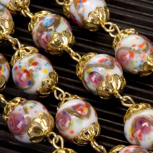 Ghirelli rosary hand-painted Bohemia glass beads s5