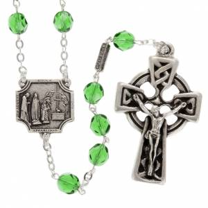 Ghirelli collection rosary beads: Ghirelli rosary Knock half-crystal green 7 mm