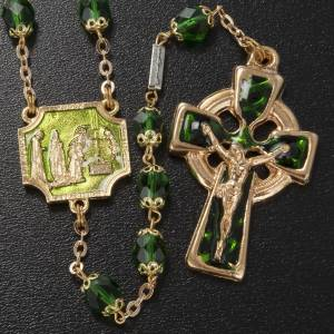 Ghirelli rosary, Knock, in green semi-crystal 7mm s2