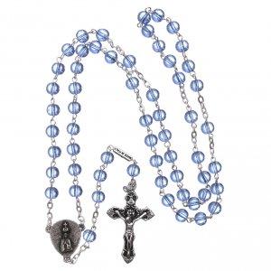 Ghirelli rosary, light blue glass, Fatima 6mm s4