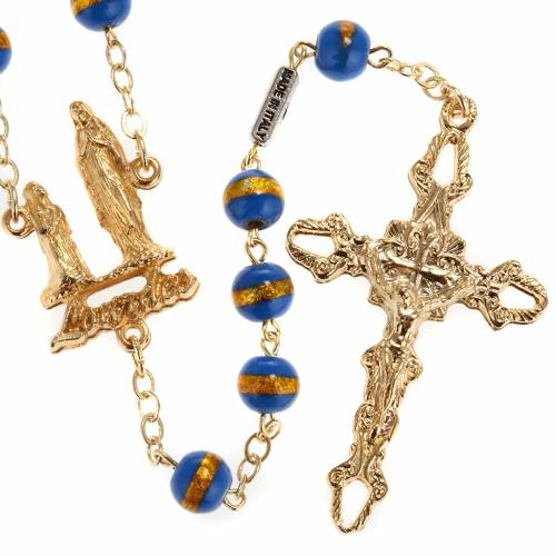 Ghirelli rosary Lourdes Grotto, blue-yellow 7mm s1