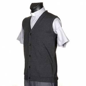 Vestes, gilets, pullovers: Gilet ouvert avec poches gris foncé