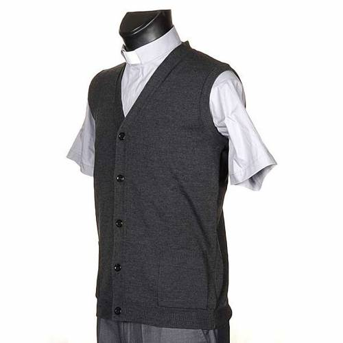 Gilet ouvert avec poches gris foncé s2