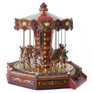 Giostra dei cavalli per villaggio natalizio illuminata in movimento e musica 35x35x35 s3