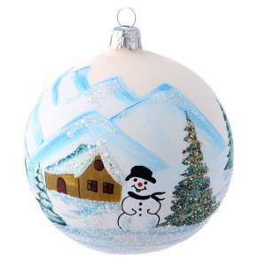 Christmas balls: Glass and glitter decoration with landscape 100 mm