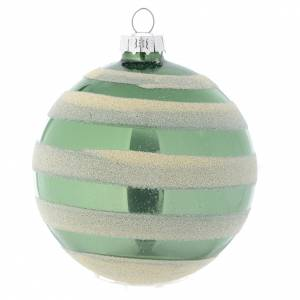 Christmas balls: Glass bauble, green with silver glitter, 80mm diameter