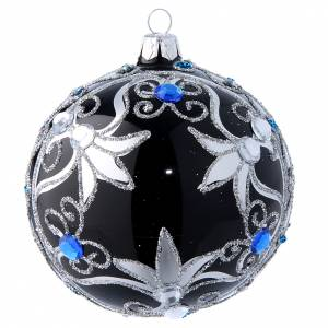 Christmas balls: Glass Christmas tree ball with  black and silver decorations  100 mm