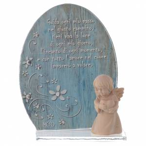 Bonbonnière: Glass favour with wooden angel 10cm blue