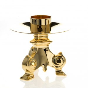 Gold-plated altar set, crucifix and candle holder<br> s3