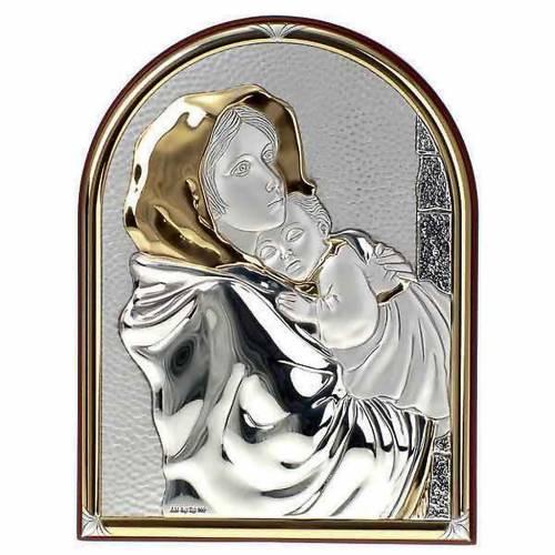 Gold/silver oval Bas Relief - Madonna del Ferruzzi s1