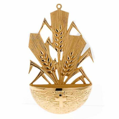 Golden Holy Water font with ears of wheat s1