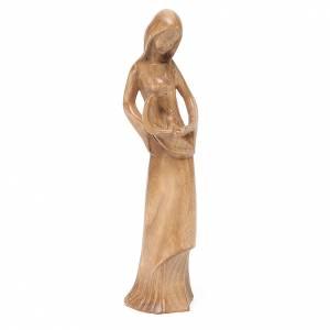 Statuen aus Naturholz: Gottesmutter Kind und Taube Grödnertal Holz patiniert