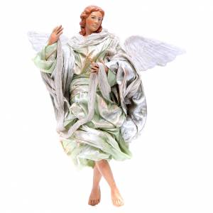Neapolitan Nativity Scene: Green angel with curved wings, figurine for Neapolitan Nativity, 30cm