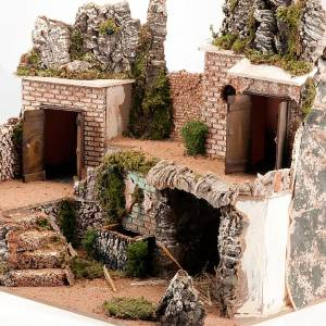 Grotta presepe e borgo con case su 3 livelli 60X40X50 s4