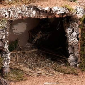 Krippe Hütten und Grotten: Grotte fuer Krippe; Ortschaft und Brunnen 60x40x50
