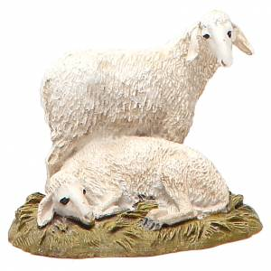 Animali presepe: Gruppo 2 pecore su base resina dipinta per cm 10 Linea Landi