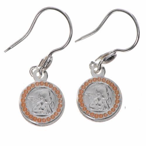 Guardian Angel earrings in 800 silver, pink finish s1