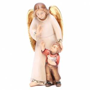 Angels: Guardian angel with little boy, modern style in Val Gardena wood
