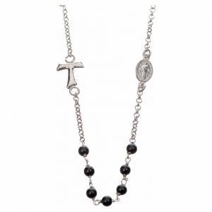 Anhänger, Kreuze, Broschen: Halsband MATER schwarz mit Tau und Medaille Silber 925