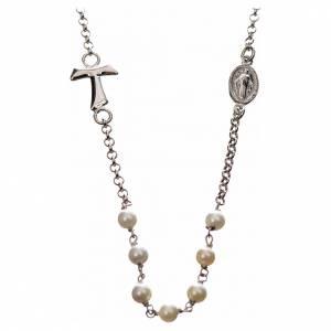 Anhänger, Kreuze, Broschen: Halsband MATER weiß mit Tau und Medaille Silber 925