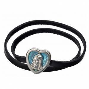 Sonstige Anhänger: Halskette schwarzen Leder und hellblauen Schild