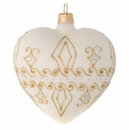 Heart Shaped Bauble in beige blown glass with gold decorations 100mm s2