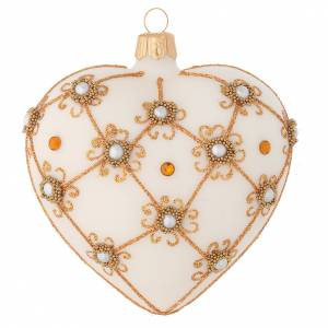 Christmas balls: Heart Shaped Christmas bauble in blown glass with ivory and gold decorations 100mm