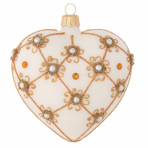 Heart Shaped Christmas bauble in blown glass with ivory and gold decorations 100mm s1