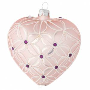 Christmas balls: Heart Shaped Christmas bauble in blown glass with pink and violet decorations 100mm