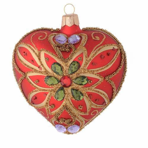 Heart Shaped Christmas bauble in red blown glass with green flower 100mm s1