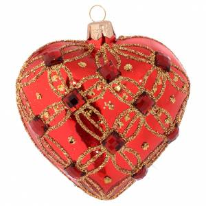 Christmas balls: Heart Shaped Christmas bauble in red blown glass with red stones 100mm