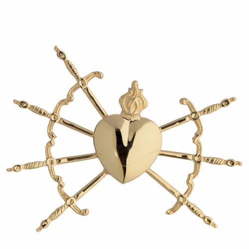 Heart with 7 swords in gold-plated brass, 16cm s1