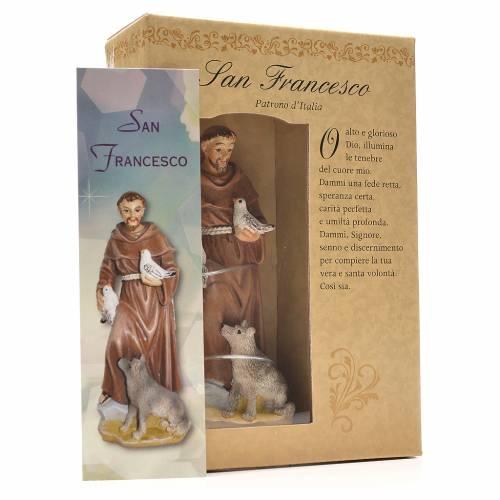Heiliger Franziskus mit Heiligenbildchen GEBET AUF ITALIENISCH 12 cm s3