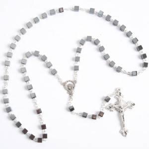 Hardstone rosaries: Square hematite rosary beads