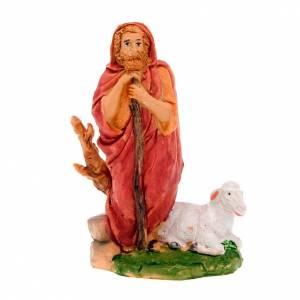 Krippenfiguren: Hirte dass steht mit Spazierstock und Schaf 13 Zentimeter