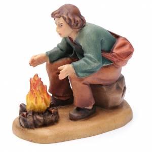 Krippe aus Grödnertal Holz: Hirte mit Feuer 12cm Holz, Krippe Valgardena