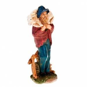 Krippenfiguren: Hirte mit Schaefchen auf Schultern 13 Zentimeter