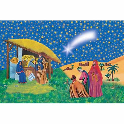 Holy Card, nativity with Wise Kings s1