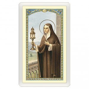 Holy cards: Holy card, Saint Clare, Prayer to Saint Clare ITA 10x5 cm