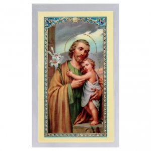 Holy cards: Holy card, Saint Joseph and the Child, Prayer to Saint Joseph ITA 10x5 cm